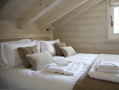 Double bedroom at Chalet Floralie in St Martin de Belleville, Three Valleys